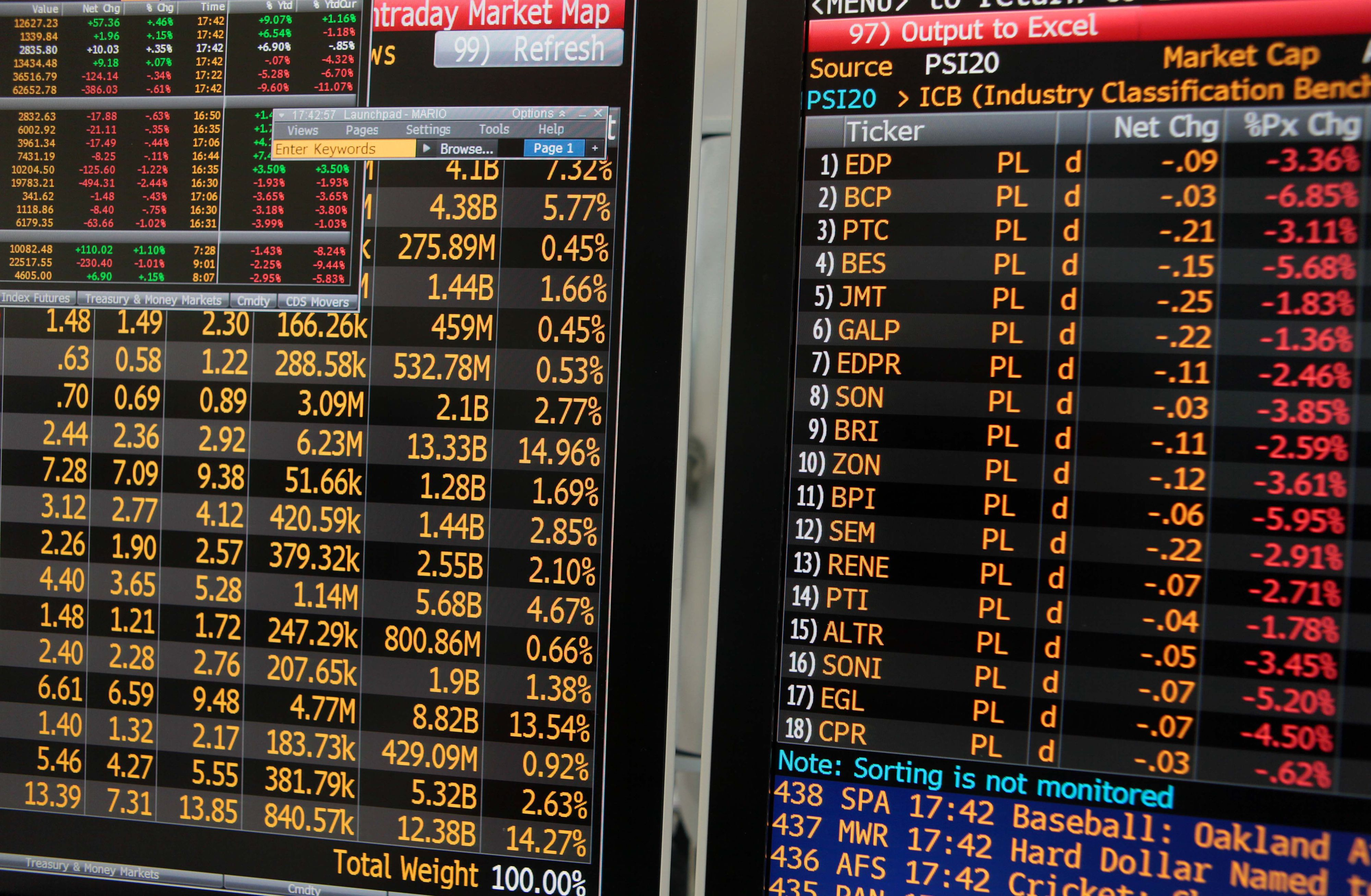 Bolsas europeias seguem negativas em sessão sem referências macroeconómicas