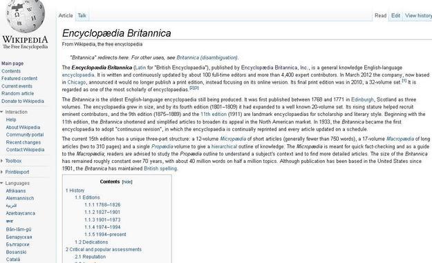 244 anos depois, a Enciclopédia Britânica anunciou o fim da sua edição em papel.